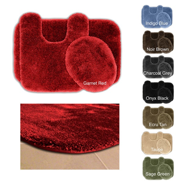 somette posh plush washable 3 piece bath rug set - 3 Piece Bathroom Rug Sets