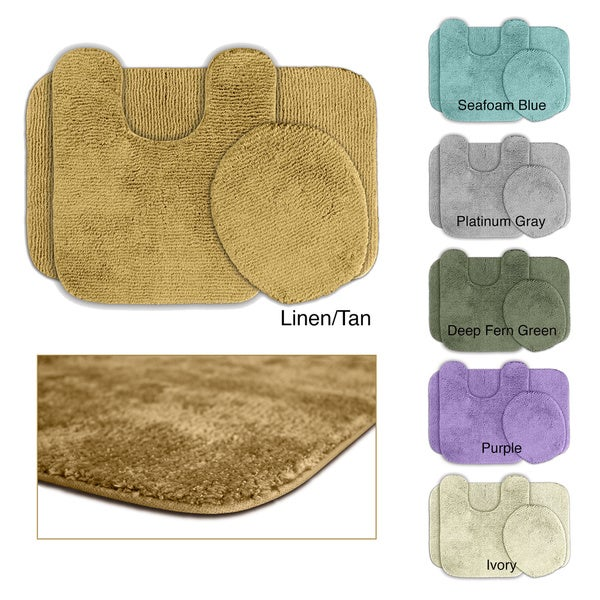 Somette Cheltenham Washable 3-piece Bath Rug Set