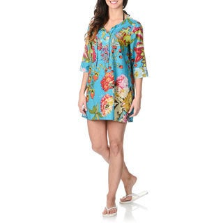 La Cera Women's Turquoise Floral Tunic Swim Cover-up