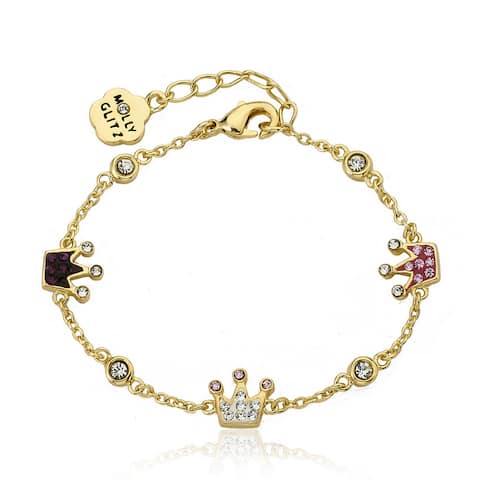 Molly Glitz Yellow Goldplated Children's Crystal Crowns Chain Bracelet