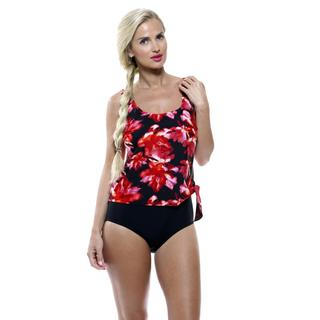 Island Pearl Women's Watercolor Red Rose Faux One-piece Swimsuit
