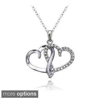DB Designs Sterling Silver 1/4ct TDW Double Open Heart Necklace