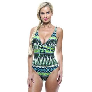 Antiqua Women's Blue Native Tank One-piece Swimsuit