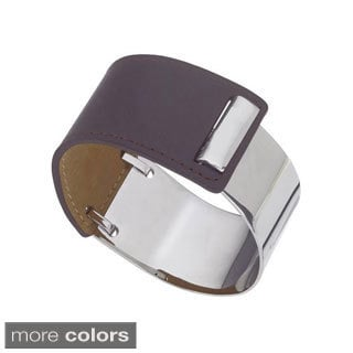 Stainless Steel and Brown Leather Women's Cuff Bracelet By Ever One