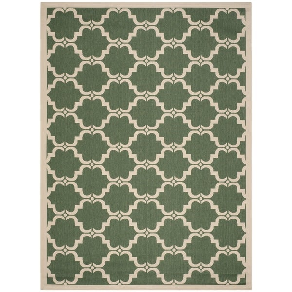 Safavieh Courtyard Moroccan Dark Green/ Beige Indoor/ Outdoor Rug - 8' x 11'