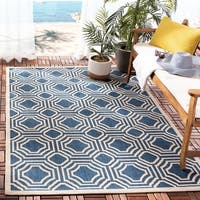 Safavieh Courtyard Navy/ Beige Indoor/ Outdoor Rug - 8' x 11'