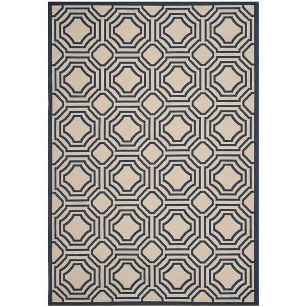 Safavieh Courtyard Navy/ Beige Indoor/ Outdoor Rug (8' x 11')