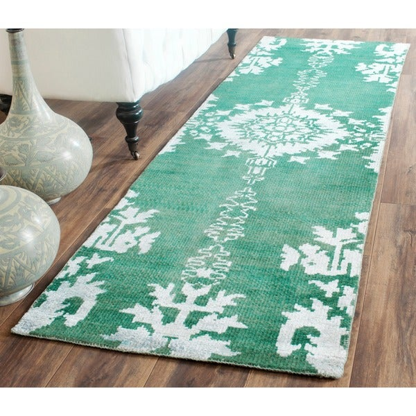 Safavieh Hand Knotted Stone Wash Emerald Wool Cotton Rug