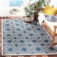 Safavieh Courtyard Navy/ Beige Indoor/ Outdoor Rug - 6'7 x 9'6