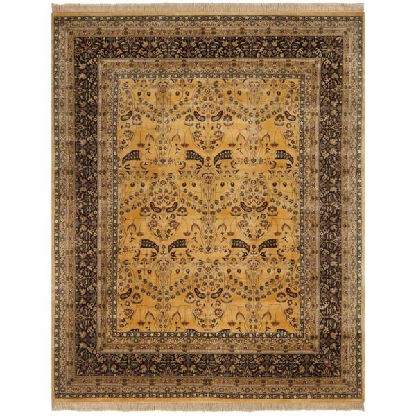 Safavieh Hand-knotted Ganges River Gold/ Dark Brown Wool Rug - 8' x 10'