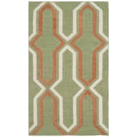 Safavieh Hand-woven Moroccan Reversible Dhurries Green/ Rust Wool Rug - 2'6' x 4'