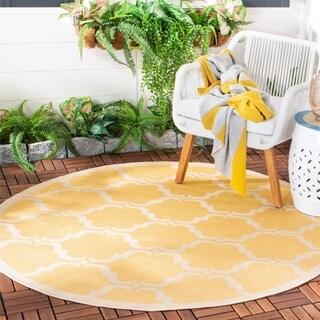 Safavieh Courtyard Moroccan Yellow/ Beige Indoor/ Outdoor Rug (5' Round)