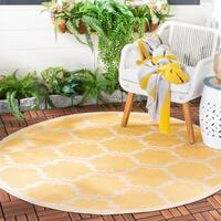 Safavieh Courtyard Moroccan Yellow/ Beige Indoor/ Outdoor Rug - 5' Round