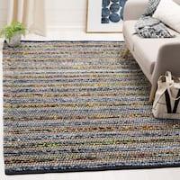 Safavieh Cape Cod Handmade Blue / Multi Jute Natural Fiber Rug (4' Square) - 4' x 4'
