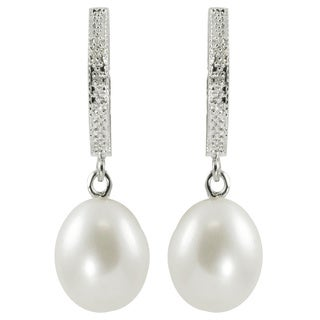 Pearls For You Sterling Silver White Freshwater Drop Pearl and Diamond Circle Dangle Earrings (9-9.5 mm) (I-J, I-2)
