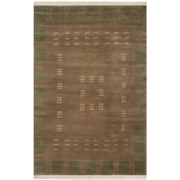 Safavieh Hand-knotted Nepalese Taupe/ Green Wool Rug (6' x 9') - 6' x 9'
