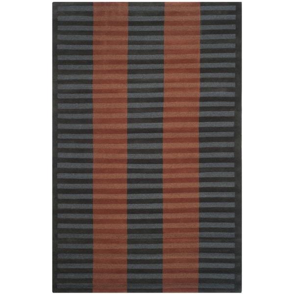 Safavieh Hand-knotted Nepalese Dark Beige/ Navy Wool Rug - 8' x 10'