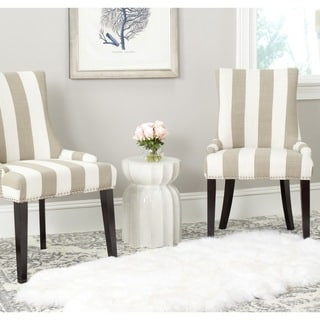 Safavieh En Vogue Dining Lester Taupe/White Stripe Polyester Blend Dining  Chairs (Set Of 2)