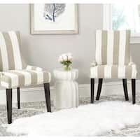 Safavieh En Vogue Dining Lester Olive/ White Stripe Polyester Blend Dining Chairs (Set of 2)