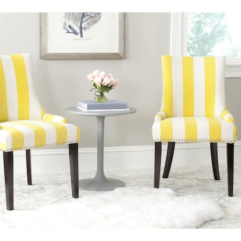 """Safavieh Dining Lester Yellow/ White Stripe Polyester Blend Dining Chairs (Set of 2) - 22""""x24.8""""x36.4"""""""