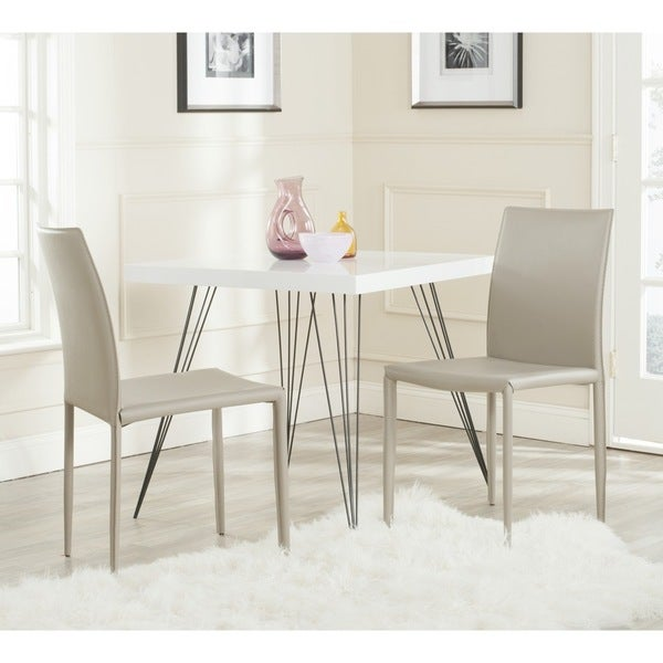 safavieh midcentury dining karna light grey bonded leather dining chairs set of 2