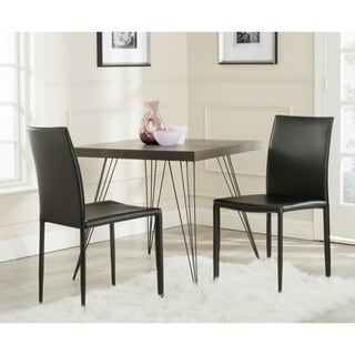 Safavieh Mid-Century Dining Karna Black Bonded Leather Dining Chairs (Set of 2)