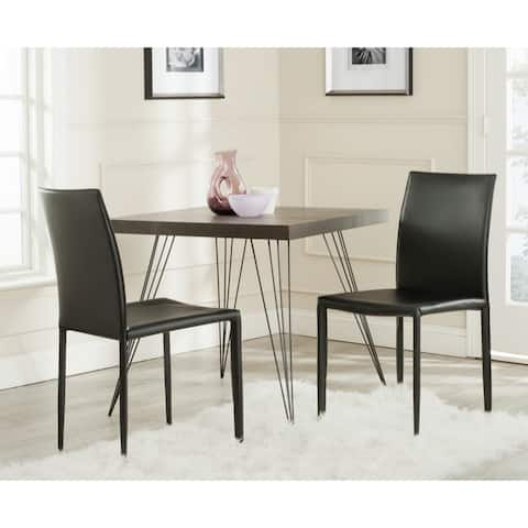 "Safavieh Dining Mid-Century Karna Black Bonded Leather Dining Chairs (Set of 2) - 18.9"" x 22.8"" x 35.8"""