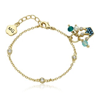 Molly Glitz Goldplated Brass Children's Blue Crystal Crown Cluster Bracelet