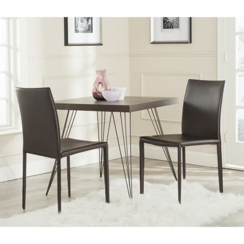 "Safavieh Dining Mid-Century Karna Brown Bonded Leather Dining Chairs (Set of 2) - 18.9"" x 22.8"" x 35.8"""