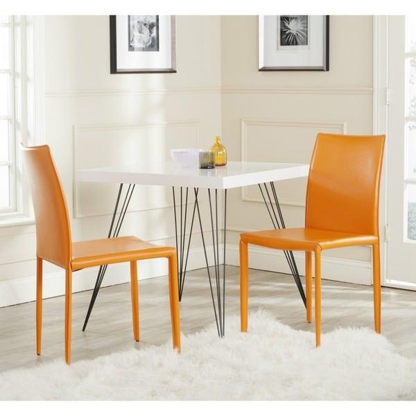 Safavieh Mid-Century Dining Karna Orange Bonded Leather Dining Chairs (Set of 2)
