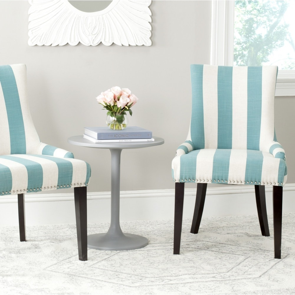 Safavieh Dining Lester Aqua Blue/White Stripe Polyester Blend Dining Chairs  (Set of 2)