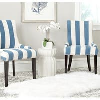 Safavieh En Vogue Dining Lester Blue/White Stripe Polyester Blend Dining Chairs (Set of 2)