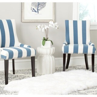 Safavieh En Vogue Dining Lester Blue/White Stripe Polyester Blend Dining  Chairs (Set Of