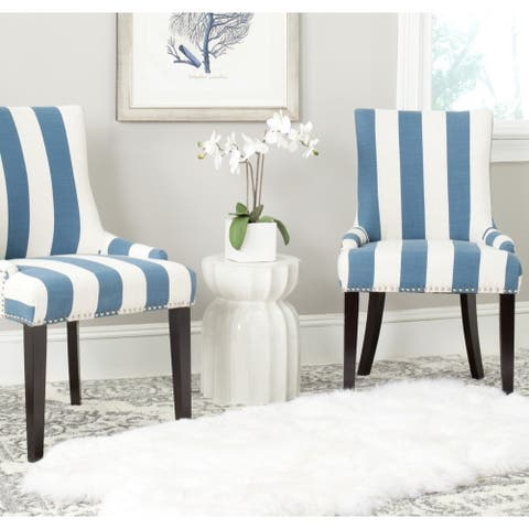 """Safavieh Dining Lester Blue/White Stripe Polyester Blend Dining Chairs (Set of 2) - 22"""" x 24.8"""" x 36.4"""""""