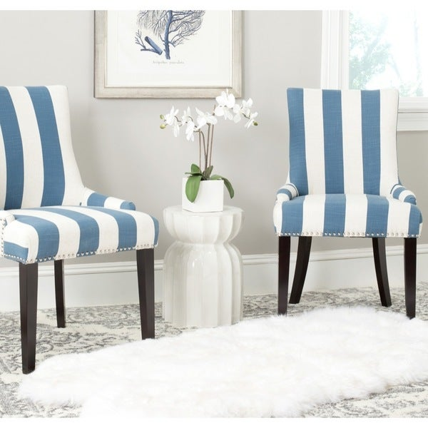 Safavieh en vogue dining lester blue white stripe for Blue and white dining chairs