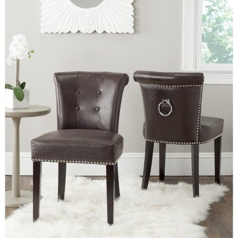 "SAFAVIEH Dining Sinclair Antique Brown Bonded Leather Ring Chairs (Set of 2) - 19.5"" x 24.2"" x 33.4"""