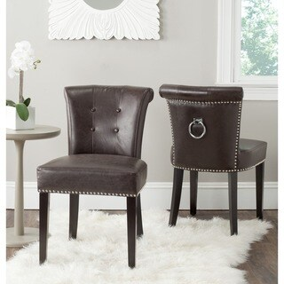 Safavieh En Vogue Dining Sinclair Antique Brown Bonded Leather Ring Chairs (Set of 2)