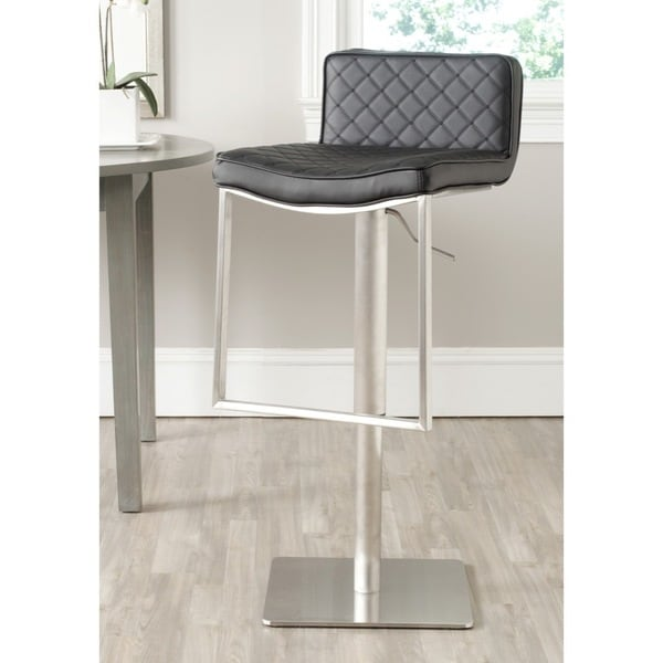 shop safavieh claudio black leather adjustable 24 33 inch swivel modern bar stool free. Black Bedroom Furniture Sets. Home Design Ideas