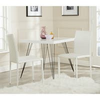 Safavieh Mid-Century Dining Karna White Croc Bonded Leather Dining Chairs (Set of 2)
