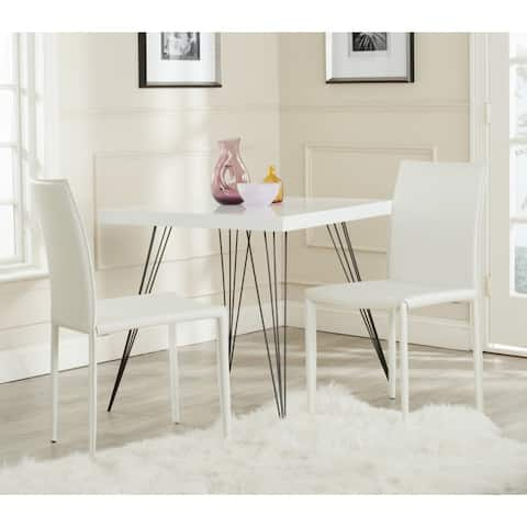 "Safavieh Dining Mid-Century Karna White Croc Bonded Leather Dining Chairs (Set of 2) - 18.9"" x 22.8"" x 35.8"""