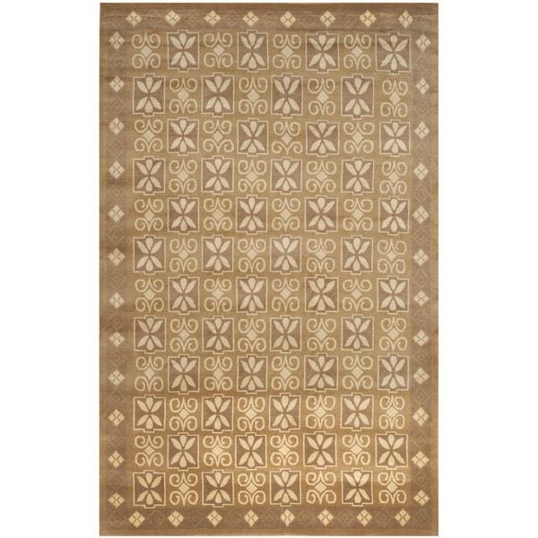 Safavieh Hand-knotted Nepalese Beige Wool/ Silk Rug - 8' x 10'
