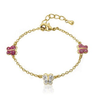 Molly Glitz Goldplated Children's Crystal Butterfly Bracelet