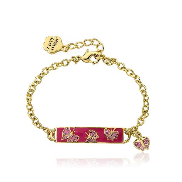 Molly Glitz Goldplated Brass Children's Hot Pink Enamel Id Butterfly Bracelet