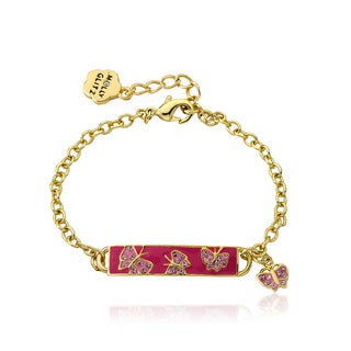 Molly Glitz Goldplated Brass Children's Hot Pink Enamel Id Butterfly Bracelet