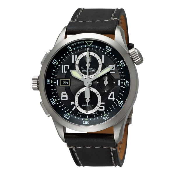 Swiss Army Men's 241446 'Air Boss' Black Dial Black Leather Strap Chronograph Watch