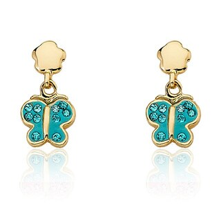 Molly Glitz 14k Yellow Goldplated Brass Children's Crystal and Enamel Butterfly Dangle Earrings