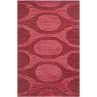 Safavieh Hand-knotted Santa Fe Contemporary Raspberry/ Red Wool Rug - 6' x 9'