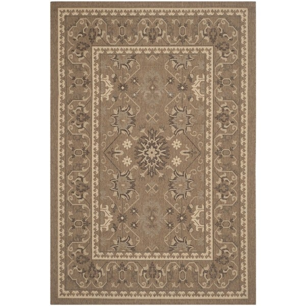 Safavieh Courtyard Charm Brown/ Cream Indoor/ Outdoor Rug (5'3 x 7'7)