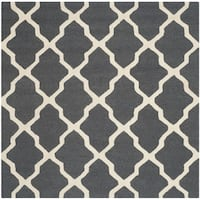 Safavieh Handmade Moroccan Cambridge Dark Grey/ Ivory Wool Rug - 6'