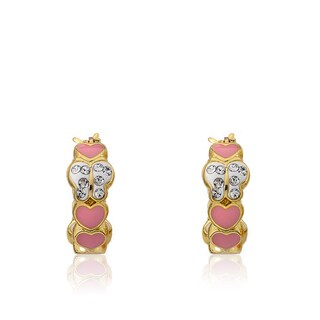 Molly Glitz 14k Yellow Goldplated Children's Crystal Butterfly and Enamel Hearts Hoop Earrings